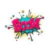 Boom pop art comic text speech bubble