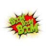 Boom pop art comic book text speech bubble