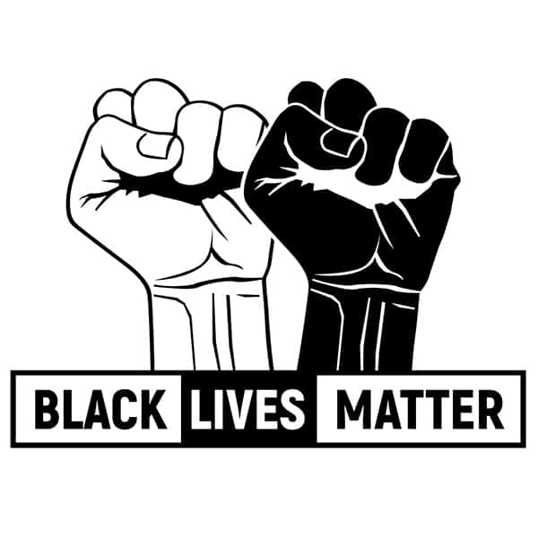 Black Lives Matter With Black and White Fists